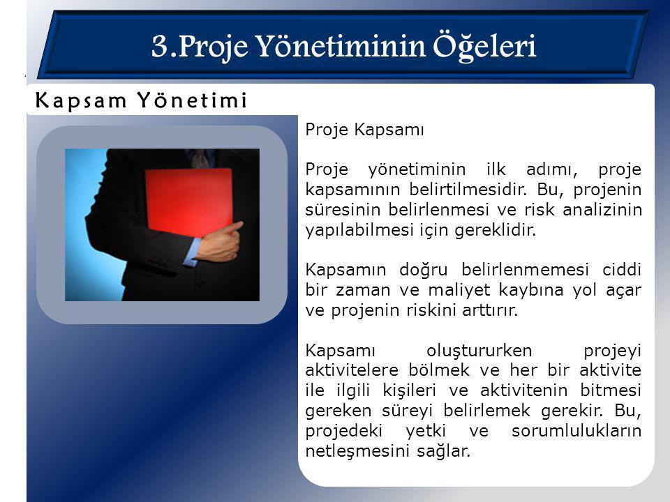 3.Proje Yönetiminin Ö ğ eleri Proje Kapsamı Proje yönetiminin ilk adımı, proje kapsamının belirtilmesidir. Bu, projenin süresinin belirlenmesi ve risk
