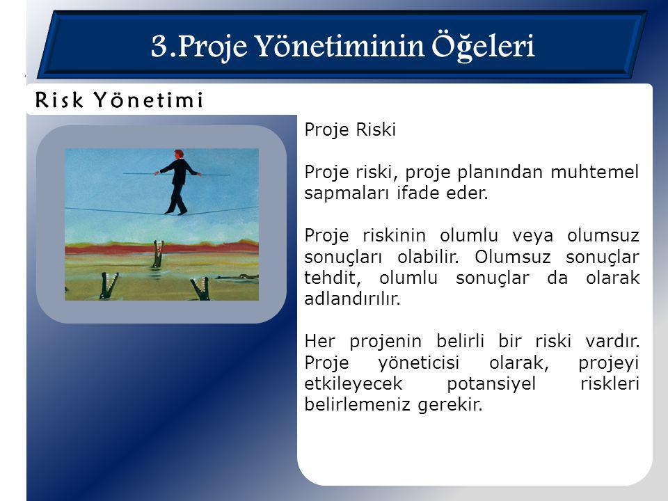 3.Proje Yönetiminin Ö ğ eleri Proje Riski Proje riski, proje planından muhtemel sapmaları ifade eder. Proje riskinin olumlu veya olumsuz sonuçları ola