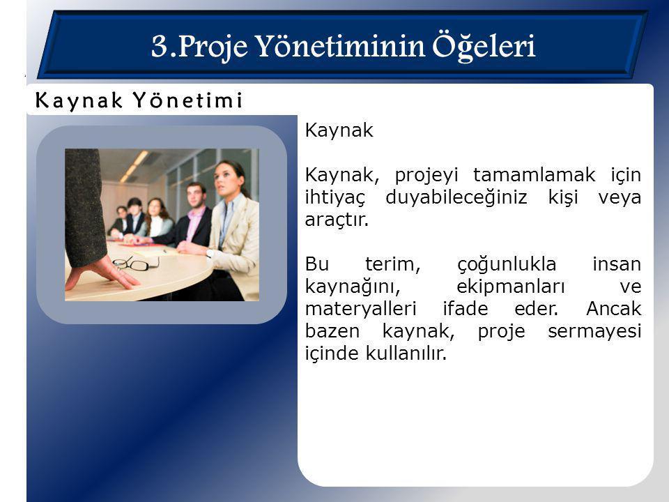 3.Proje Yönetiminin Ö ğ eleri Kaynak Kaynak, projeyi tamamlamak için ihtiyaç duyabileceğiniz kişi veya araçtır. Bu terim, çoğunlukla insan kaynağını,