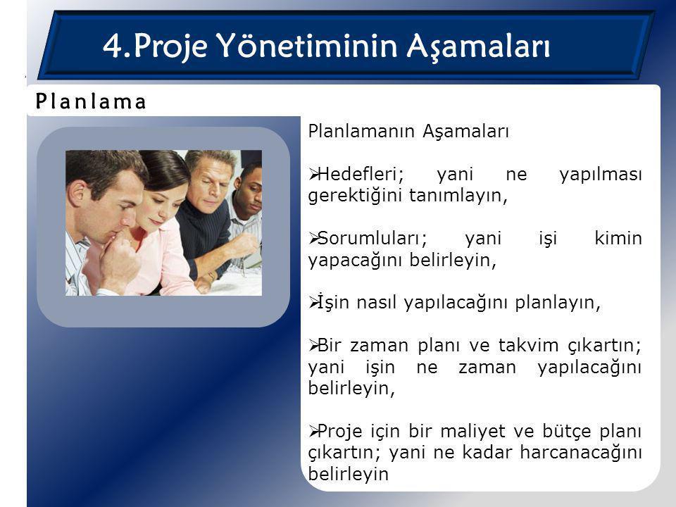 4.Proje Yönetiminin Aşamaları Planlamanın Aşamaları  Hedefleri; yani ne yapılması gerektiğini tanımlayın,  Sorumluları; yani işi kimin yapacağını be
