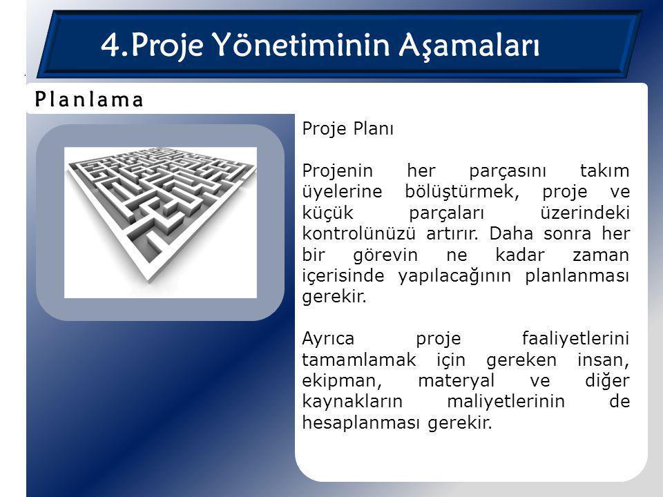 4.Proje Yönetiminin Aşamaları Proje Planı Projenin her parçasını takım üyelerine bölüştürmek, proje ve küçük parçaları üzerindeki kontrolünüzü artırır