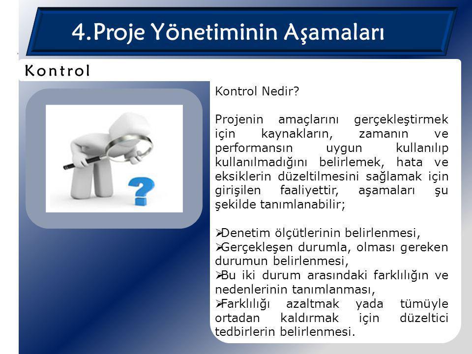4.Proje Yönetiminin Aşamaları Kontrol Nedir? Projenin amaçlarını gerçekleştirmek için kaynakların, zamanın ve performansın uygun kullanılıp kullanılma