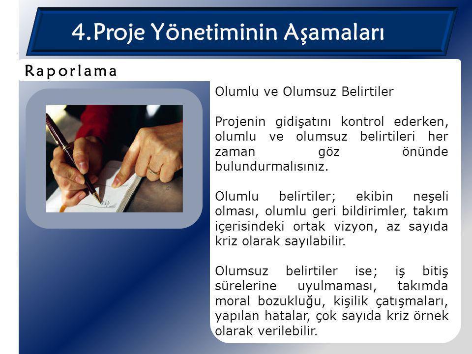 4.Proje Yönetiminin Aşamaları Olumlu ve Olumsuz Belirtiler Projenin gidişatını kontrol ederken, olumlu ve olumsuz belirtileri her zaman göz önünde bul