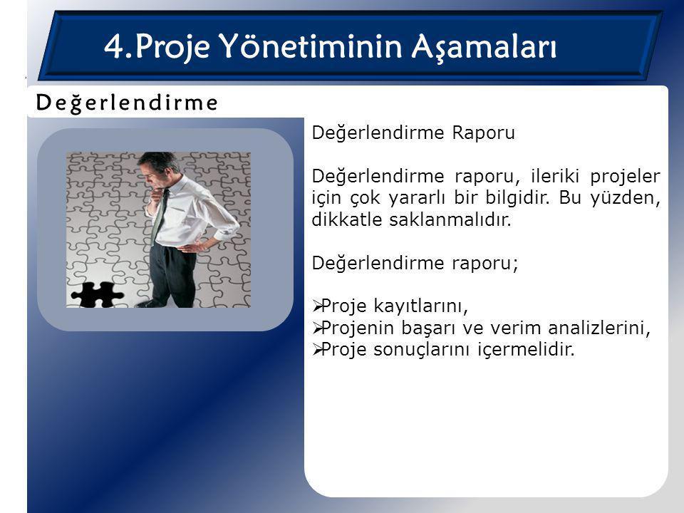 4.Proje Yönetiminin Aşamaları Değerlendirme Raporu Değerlendirme raporu, ileriki projeler için çok yararlı bir bilgidir. Bu yüzden, dikkatle saklanmal