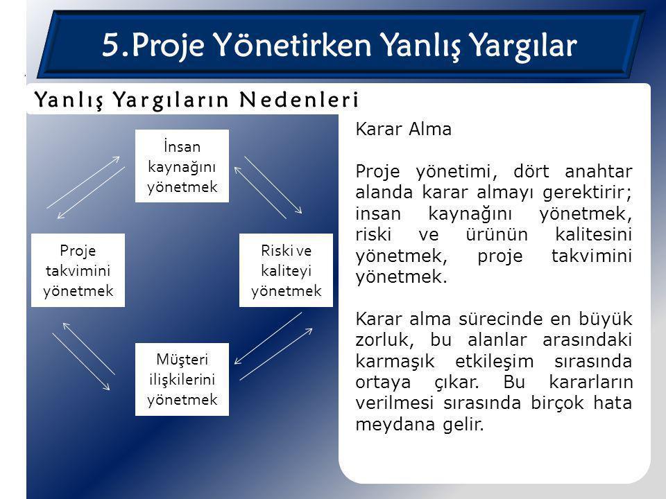 5.Proje Yönetirken Yanlış Yargılar Karar Alma Proje yönetimi, dört anahtar alanda karar almayı gerektirir; insan kaynağını yönetmek, riski ve ürünün k