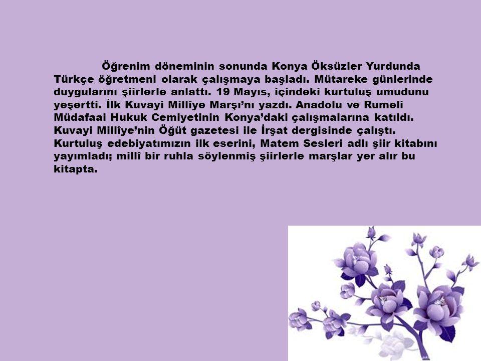 Öğrenim döneminin sonunda Konya Öksüzler Yurdunda Türkçe öğretmeni olarak çalışmaya başladı. Mütareke günlerinde duygularını şiirlerle anlattı. 19 May