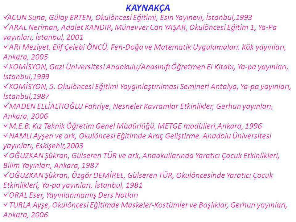 KAYNAKÇA  ACUN Suna, Gülay ERTEN, Okulöncesi Eğitimi, Esin Yayınevi, İstanbul,1993  ARAL Neriman, Adalet KANDIR, Münevver Can YAŞAR, Okulöncesi Eğit
