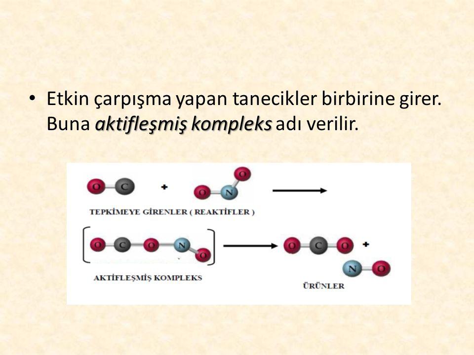 aktifleşmiş kompleks • Etkin çarpışma yapan tanecikler birbirine girer. Buna aktifleşmiş kompleks adı verilir.