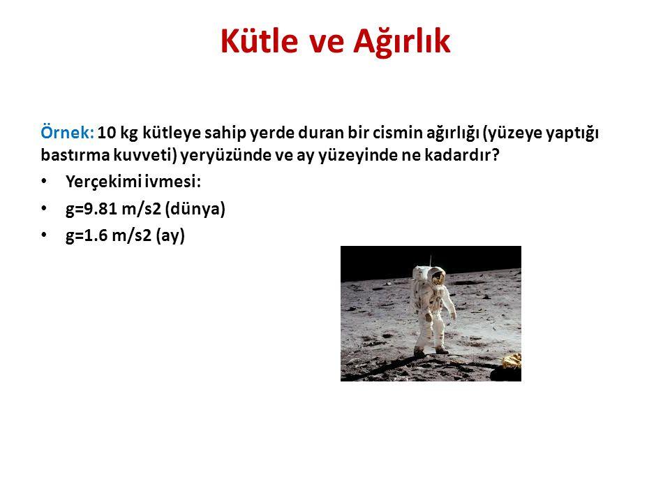 Kütle ve Ağırlık Örnek: 10 kg kütleye sahip yerde duran bir cismin ağırlığı (yüzeye yaptığı bastırma kuvveti) yeryüzünde ve ay yüzeyinde ne kadardır.
