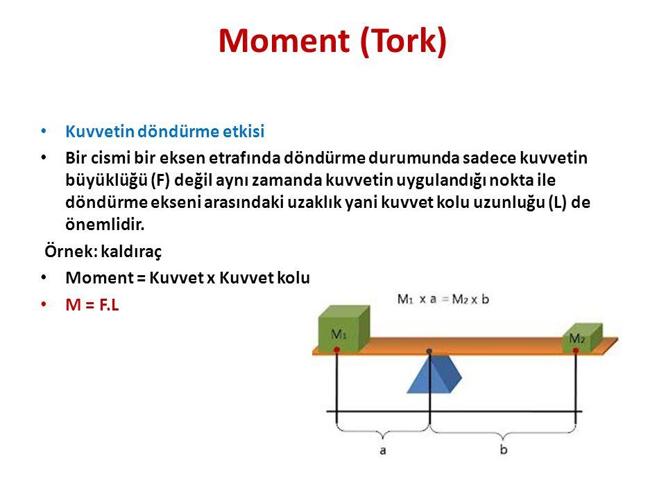 Moment (Tork) • Kuvvetin döndürme etkisi • Bir cismi bir eksen etrafında döndürme durumunda sadece kuvvetin büyüklüğü (F) değil aynı zamanda kuvvetin uygulandığı nokta ile döndürme ekseni arasındaki uzaklık yani kuvvet kolu uzunluğu (L) de önemlidir.