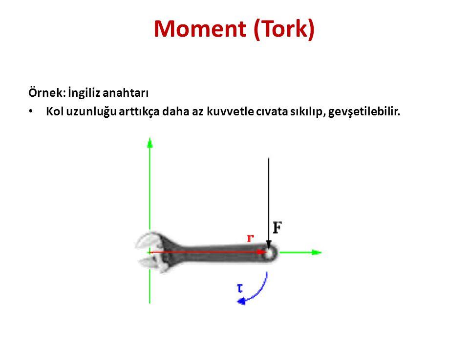 Moment (Tork) Örnek: İngiliz anahtarı • Kol uzunluğu arttıkça daha az kuvvetle cıvata sıkılıp, gevşetilebilir.