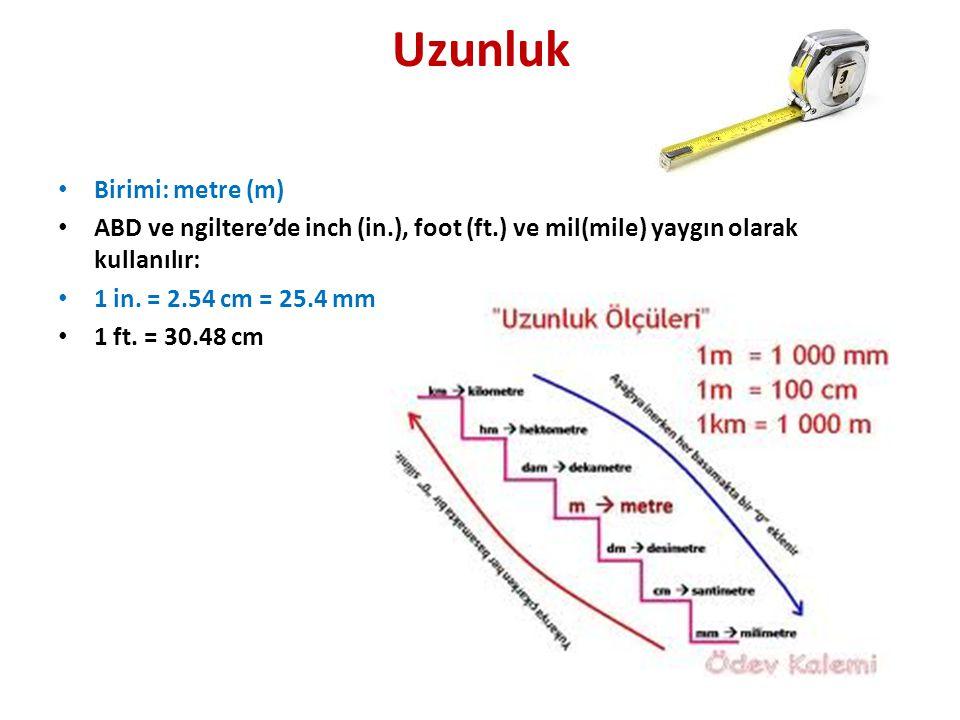 Uzunluk • Birimi: metre (m) • ABD ve ngiltere'de inch (in.), foot (ft.) ve mil(mile) yaygın olarak kullanılır: • 1 in.