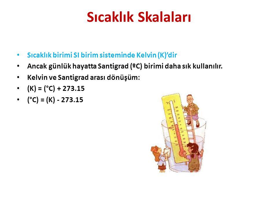 Sıcaklık Skalaları • Sıcaklık birimi SI birim sisteminde Kelvin (K)'dir • Ancak günlük hayatta Santigrad (ºC) birimi daha sık kullanılır.