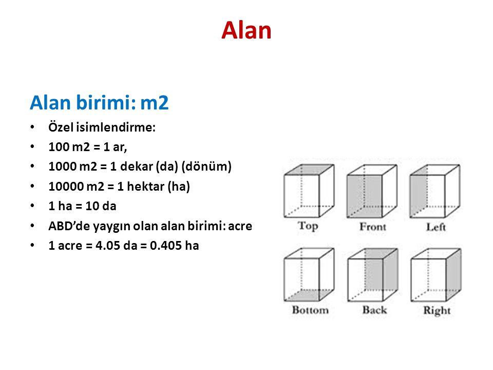 Alan Alan birimi: m2 • Özel isimlendirme: • 100 m2 = 1 ar, • 1000 m2 = 1 dekar (da) (dönüm) • 10000 m2 = 1 hektar (ha) • 1 ha = 10 da • ABD'de yaygın olan alan birimi: acre • 1 acre = 4.05 da = 0.405 ha