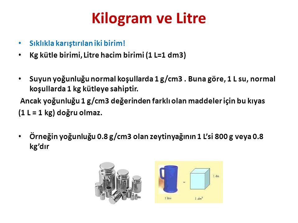 Kilogram ve Litre • Sıklıkla karıştırılan iki birim.