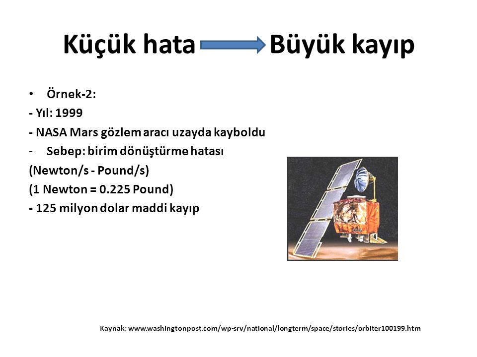 • Örnek-2: - Yıl: 1999 - NASA Mars gözlem aracı uzayda kayboldu -Sebep: birim dönüştürme hatası (Newton/s - Pound/s) (1 Newton = 0.225 Pound) - 125 milyon dolar maddi kayıp Küçük hata Büyük kayıp Kaynak: www.washingtonpost.com/wp-srv/national/longterm/space/stories/orbiter100199.htm
