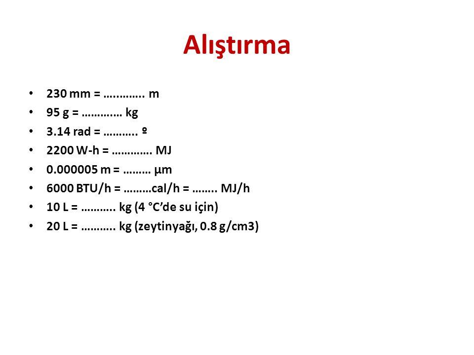 Alıştırma • 230 mm = …..……..m • 95 g = ……….… kg • 3.14 rad = ………..