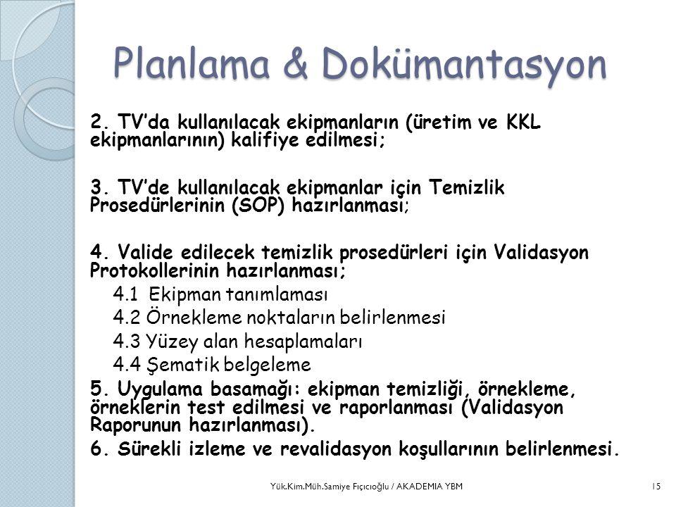 Planlama & Dokümantasyon 2. TV'da kullanılacak ekipmanların (üretim ve KKL ekipmanlarının) kalifiye edilmesi; 3. TV'de kullanılacak ekipmanlar için Te