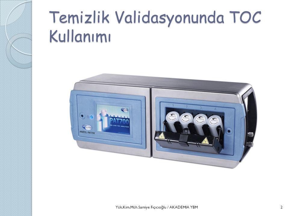 TOC ile Sağlamlık (Robustness) Tayini  Farklı operatör;  Farklı Lot/ Tip swab, Numune şişesi; kupon;  Farklı TOC cihazı;  Farklı günlerde örnekleme;  Farklı sıcaklıklarda örnekleme;  Farklı Lot'taki kirletici;  Bu değişkenliklerin metodu etkilemediğini ispatlanması gerekir.