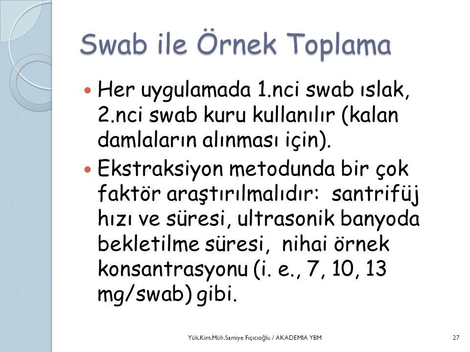 Swab ile Örnek Toplama  Her uygulamada 1.nci swab ıslak, 2.nci swab kuru kullanılır (kalan damlaların alınması için).  Ekstraksiyon metodunda bir ço