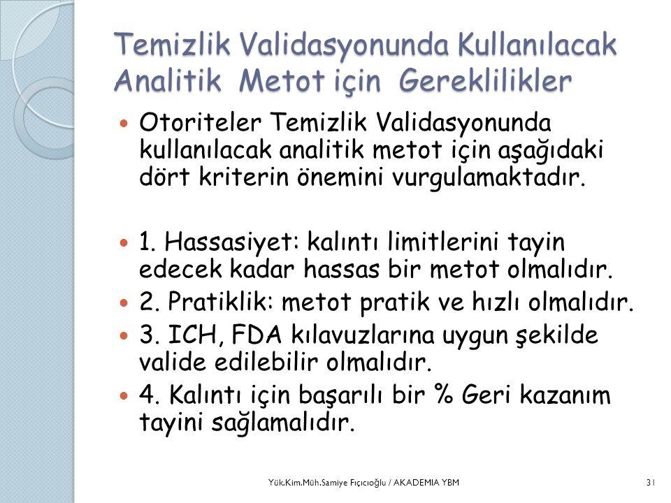 Temizlik Validasyonunda Kullanılacak Analitik Metot için Gereklilikler  Otoriteler Temizlik Validasyonunda kullanılacak analitik metot için aşağıdaki
