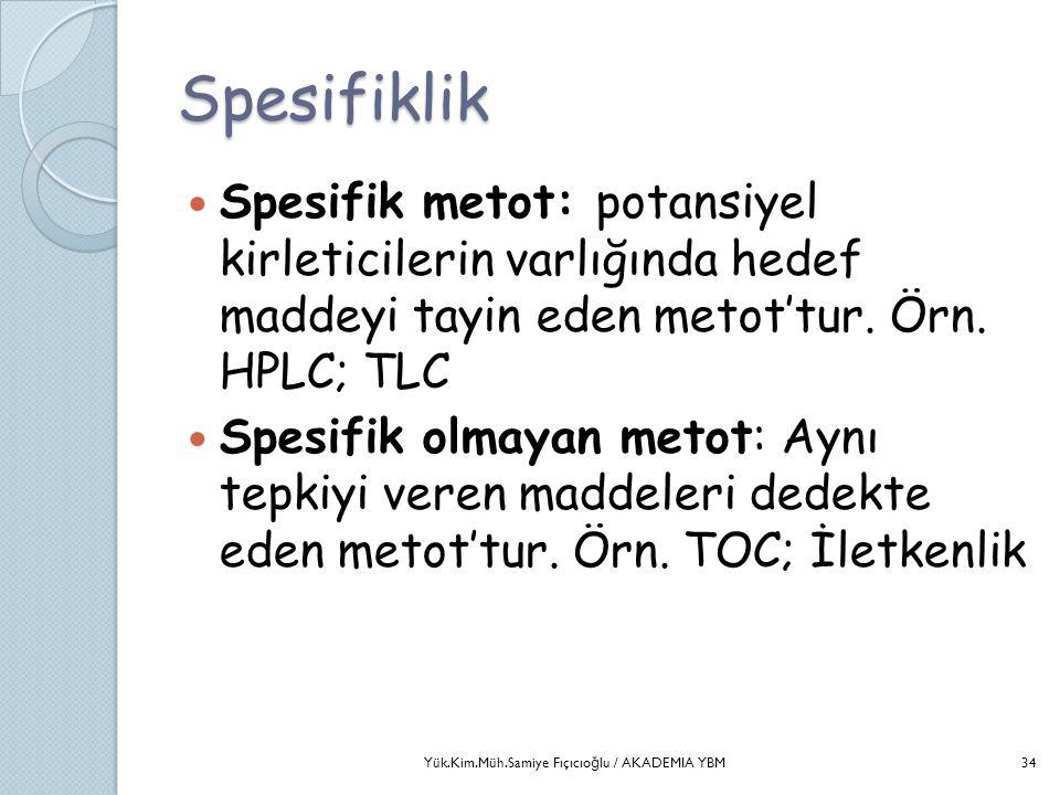 Spesifiklik  Spesifik metot: potansiyel kirleticilerin varlığında hedef maddeyi tayin eden metot'tur. Örn. HPLC; TLC  Spesifik olmayan metot: Aynı t