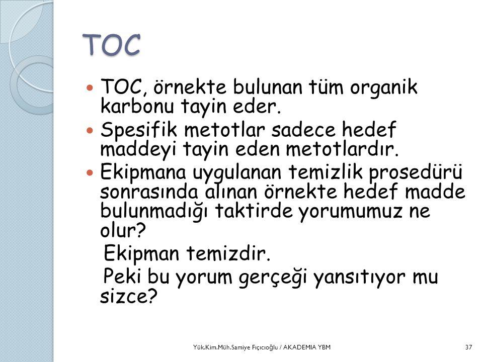 TOC  TOC, örnekte bulunan tüm organik karbonu tayin eder.  Spesifik metotlar sadece hedef maddeyi tayin eden metotlardır.  Ekipmana uygulanan temiz
