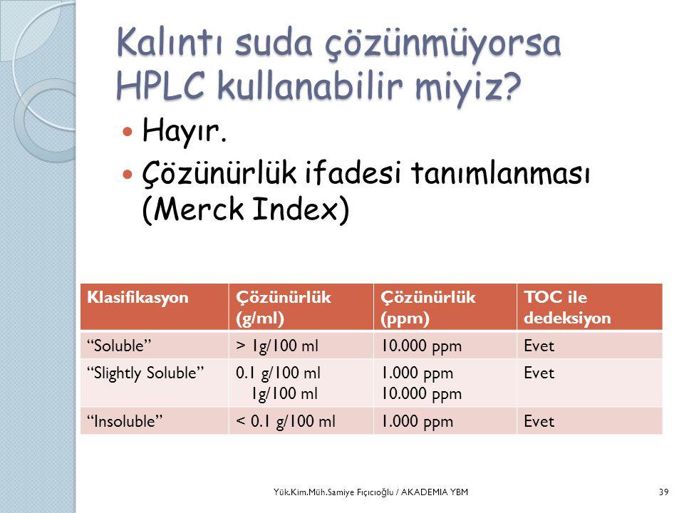 Kalıntı suda çözünmüyorsa HPLC kullanabilir miyiz?  Hayır.  Çözünürlük ifadesi tanımlanması (Merck Index) KlasifikasyonÇözünürlük (g/ml) Çözünürlük