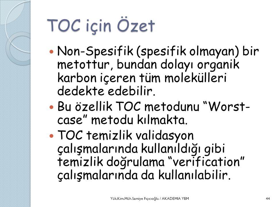 TOC için Özet  Non-Spesifik (spesifik olmayan) bir metottur, bundan dolayı organik karbon içeren tüm molekülleri dedekte edebilir.  Bu özellik TOC m