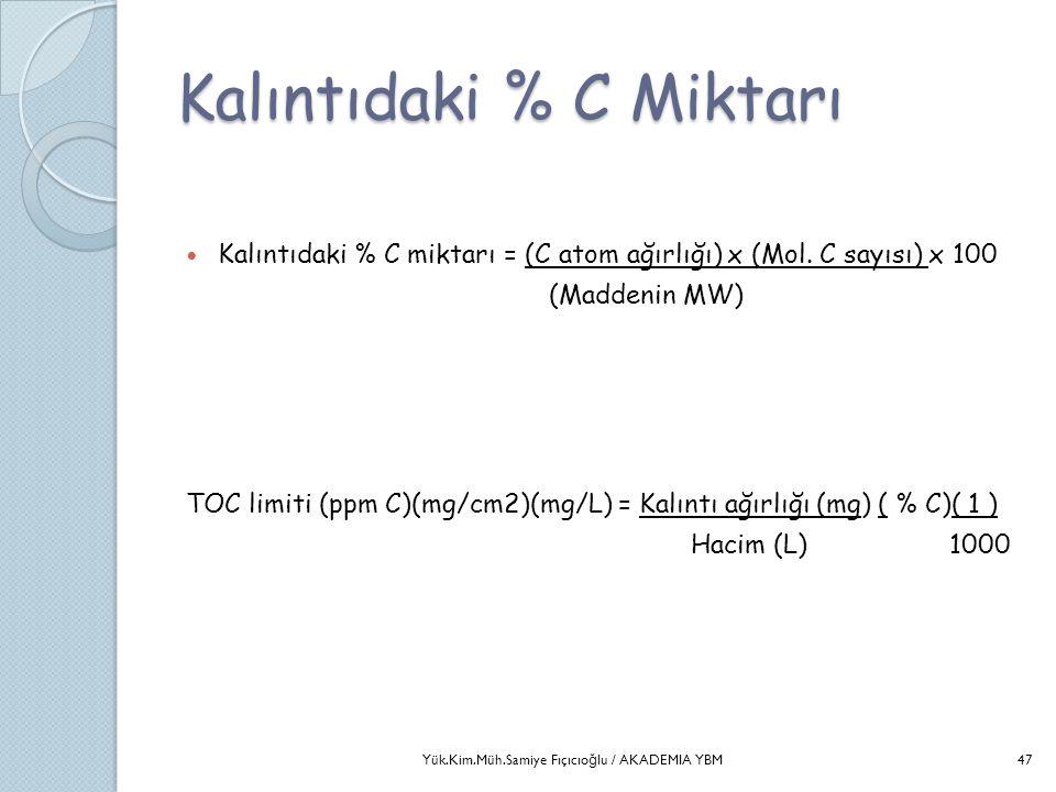 Kalıntıdaki % C Miktarı  Kalıntıdaki % C miktarı = (C atom ağırlığı) x (Mol. C sayısı) x 100 (Maddenin MW) TOC limiti (ppm C)(mg/cm2)(mg/L) = Kalıntı