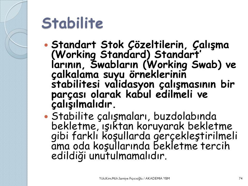 Stabilite  Standart Stok Çözeltilerin, Çalışma (Working Standard) Standart' larının, Swabların (Working Swab) ve çalkalama suyu örneklerinin stabilit