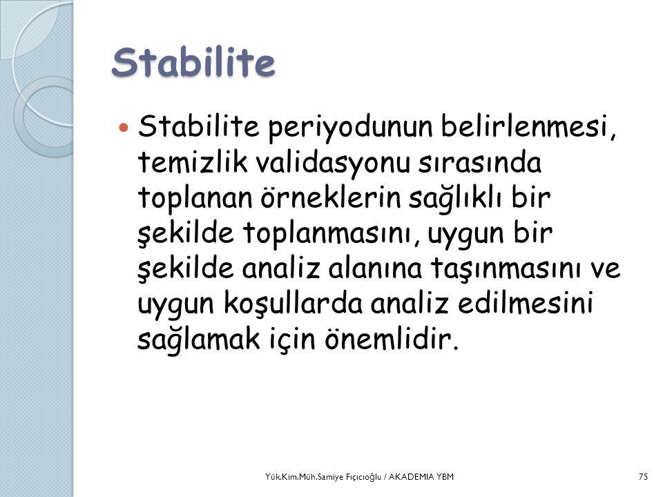 Stabilite  Stabilite periyodunun belirlenmesi, temizlik validasyonu sırasında toplanan örneklerin sağlıklı bir şekilde toplanmasını, uygun bir şekild