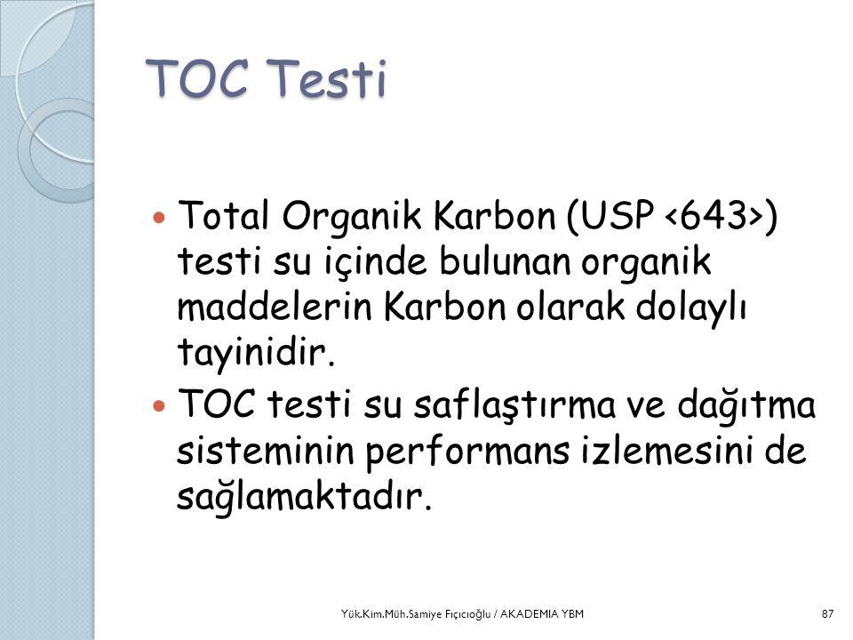 TOC Testi  Total Organik Karbon (USP ) testi su içinde bulunan organik maddelerin Karbon olarak dolaylı tayinidir.  TOC testi su saflaştırma ve dağı