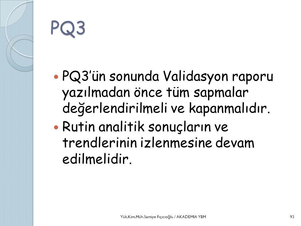PQ3  PQ3'ün sonunda Validasyon raporu yazılmadan önce tüm sapmalar değerlendirilmeli ve kapanmalıdır.  Rutin analitik sonuçların ve trendlerinin izl