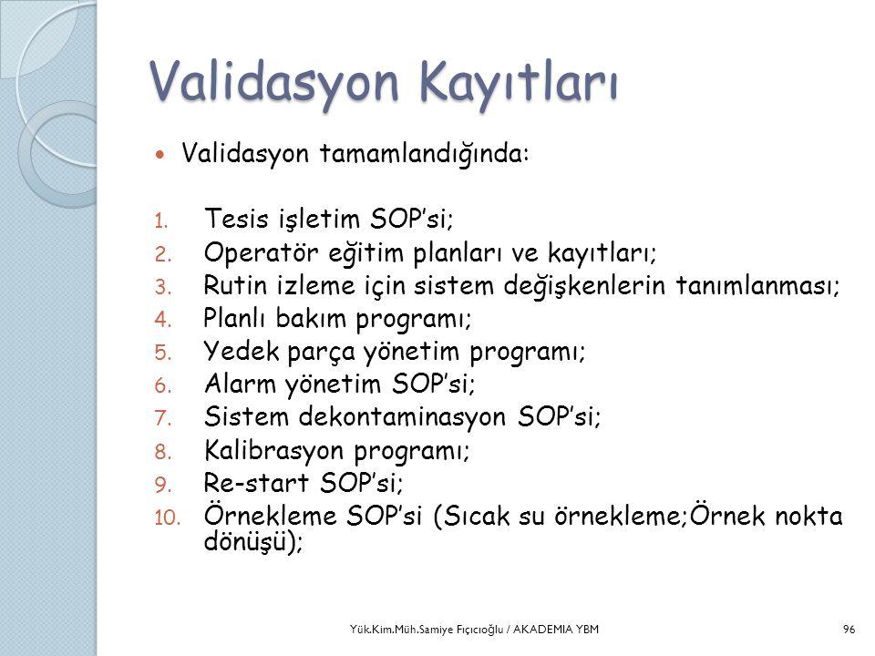 Validasyon Kayıtları  Validasyon tamamlandığında: 1. Tesis işletim SOP'si; 2. Operatör eğitim planları ve kayıtları; 3. Rutin izleme için sistem deği