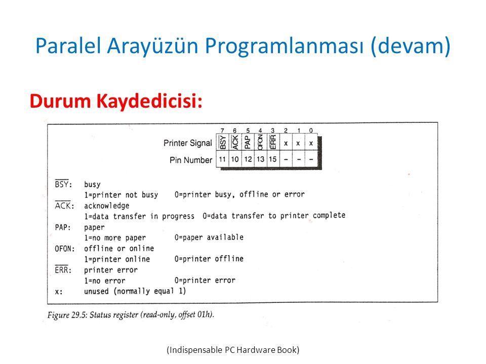 Paralel Arayüzün Programlanması (devam) Durum Kaydedicisi: (Indispensable PC Hardware Book)