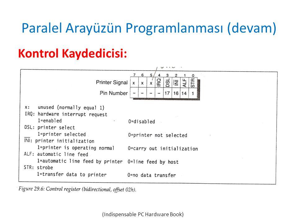Paralel Arayüzün Programlanması (devam) Kontrol Kaydedicisi: (Indispensable PC Hardware Book)