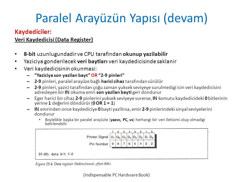 Paralel Arayüzün Yapısı (devam) Kaydediciler: Veri Kaydedicisi (Data Register) • 8-bit uzunlugundadir ve CPU tarafindan okunup yazilabilir • Yaziciya