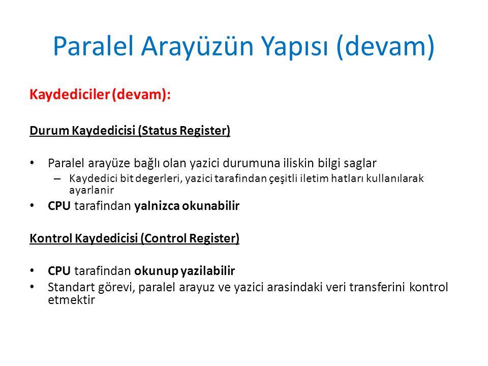 Paralel Arayüzün Yapısı (devam) Kaydediciler (devam): Durum Kaydedicisi (Status Register) • Paralel arayüze bağlı olan yazici durumuna iliskin bilgi s