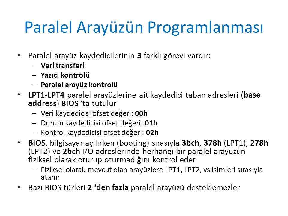 Paralel Arayüzün Programlanması • Paralel arayüz kaydedicilerinin 3 farklı görevi vardır: – Veri transferi – Yazıcı kontrolü – Paralel arayüz kontrolü