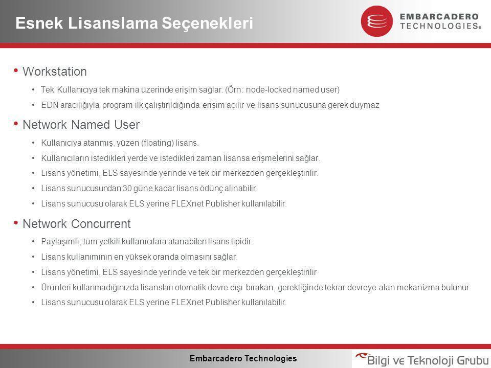 Embarcadero Technologies Esnek Lisanslama Seçenekleri • Workstation •Tek Kullanıcıya tek makina üzerinde erişim sağlar.