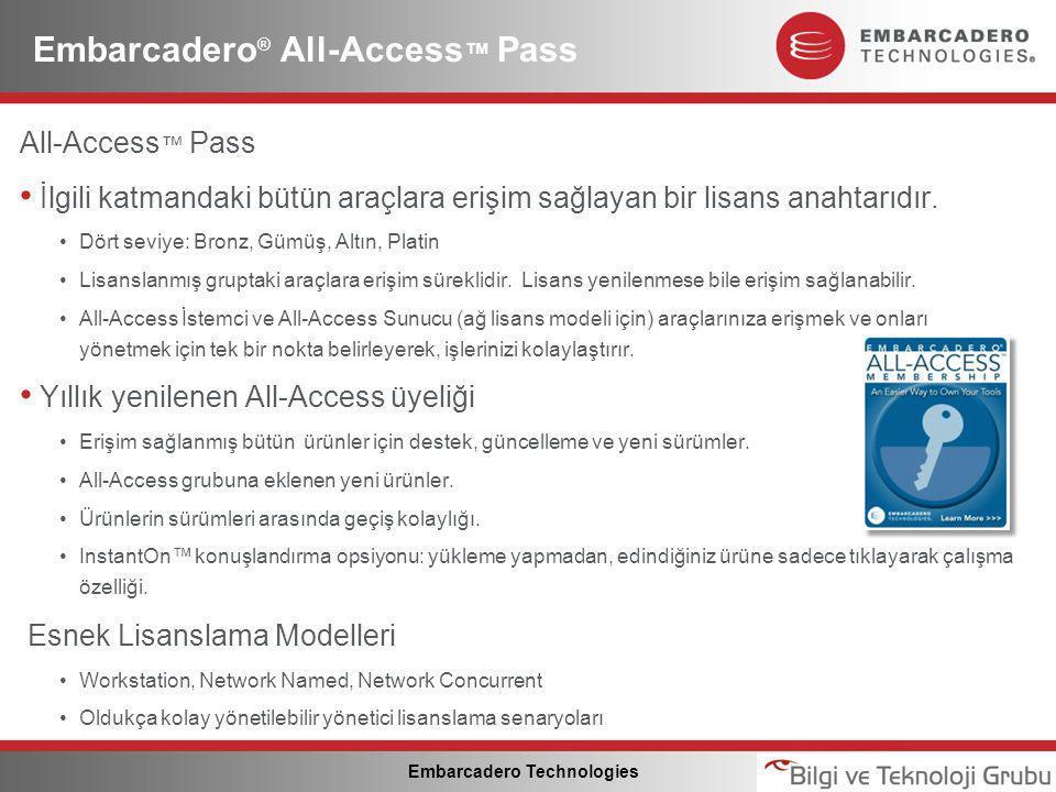 Embarcadero Technologies Embarcadero ® All-Access ™ Pass All-Access ™ Pass • İlgili katmandaki bütün araçlara erişim sağlayan bir lisans anahtarıdır.