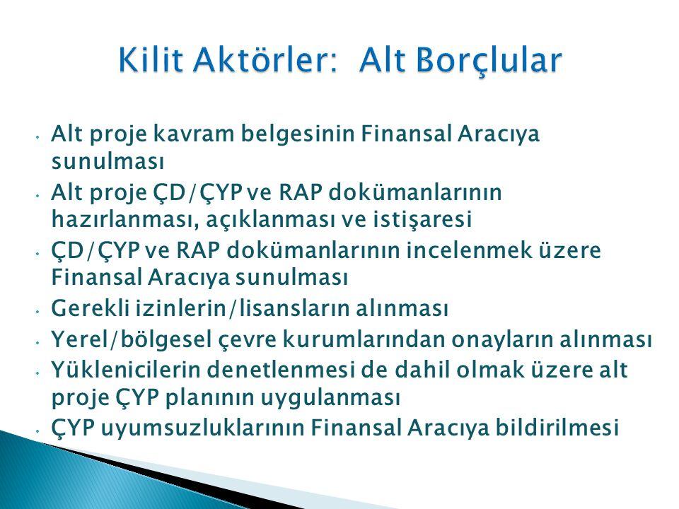 • Alt proje kavram belgesinin Finansal Aracıya sunulması • Alt proje ÇD/ÇYP ve RAP dokümanlarının hazırlanması, açıklanması ve istişaresi • ÇD/ÇYP ve