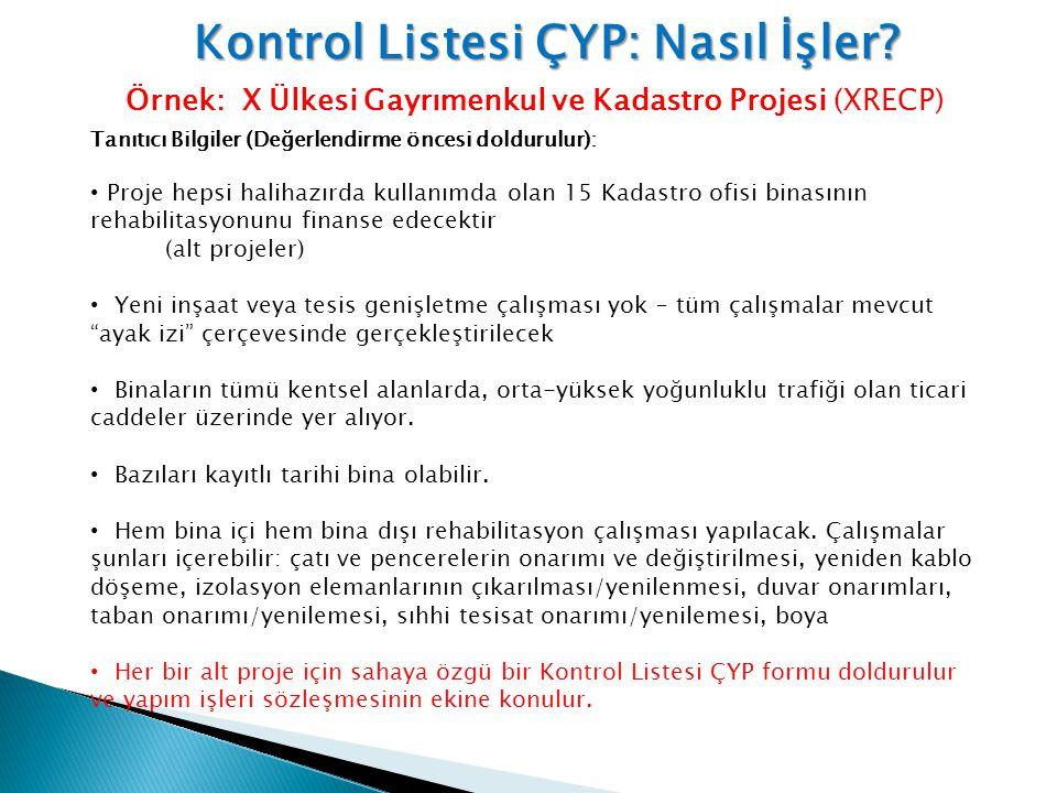 Kontrol Listesi ÇYP: Nasıl İşler? Örnek: X Ülkesi Gayrımenkul ve Kadastro Projesi (XRECP) Tanıtıcı Bilgiler (Değerlendirme öncesi doldurulur): • Proje