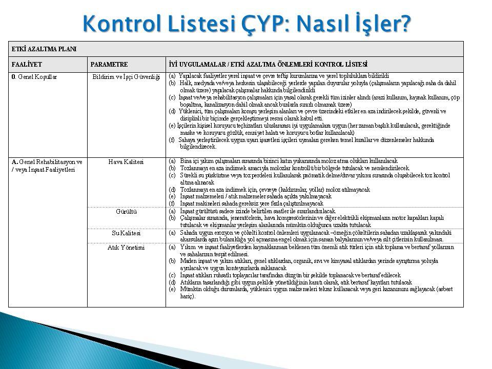 Kontrol Listesi ÇYP: Nasıl İşler?