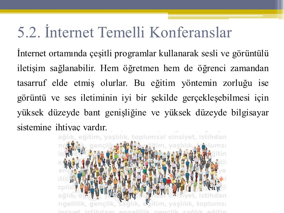 5.2. İnternet Temelli Konferanslar İnternet ortamında çeşitli programlar kullanarak sesli ve görüntülü iletişim sağlanabilir. Hem öğretmen hem de öğre