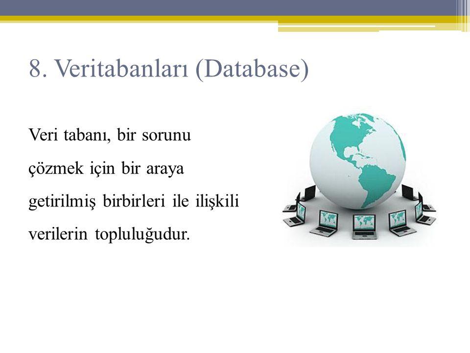 Veri tabanı, bir sorunu çözmek için bir araya getirilmiş birbirleri ile ilişkili verilerin topluluğudur. 8. Veritabanları (Database)