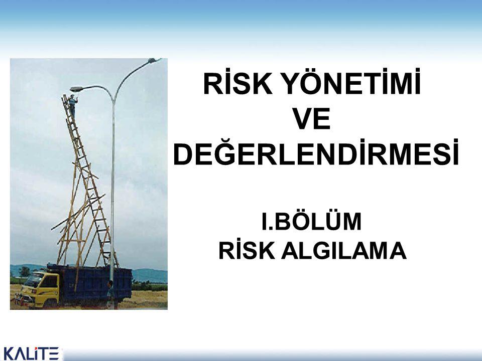 RİSK ALGILAMASI (I,II,III) Riskin nasıl algılandığını anlamak için; insanların riski nasıl tanımladıklarına bakmak gereklidir.