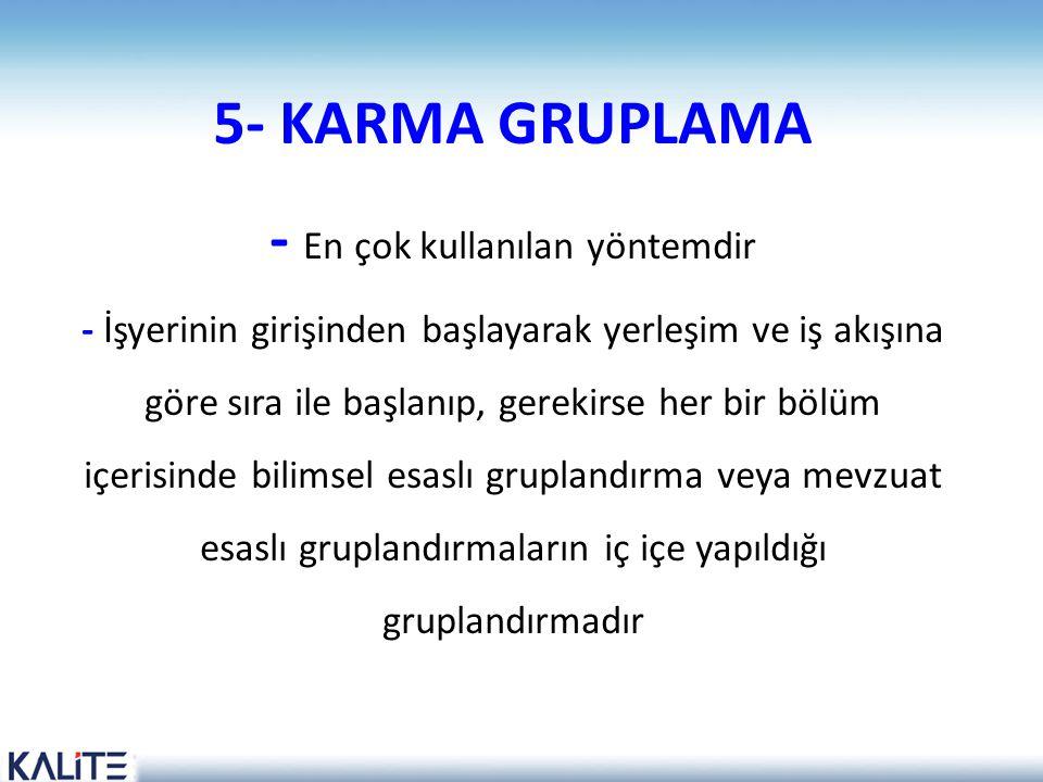 5- KARMA GRUPLAMA - En çok kullanılan yöntemdir - İşyerinin girişinden başlayarak yerleşim ve iş akışına göre sıra ile başlanıp, gerekirse her bir böl