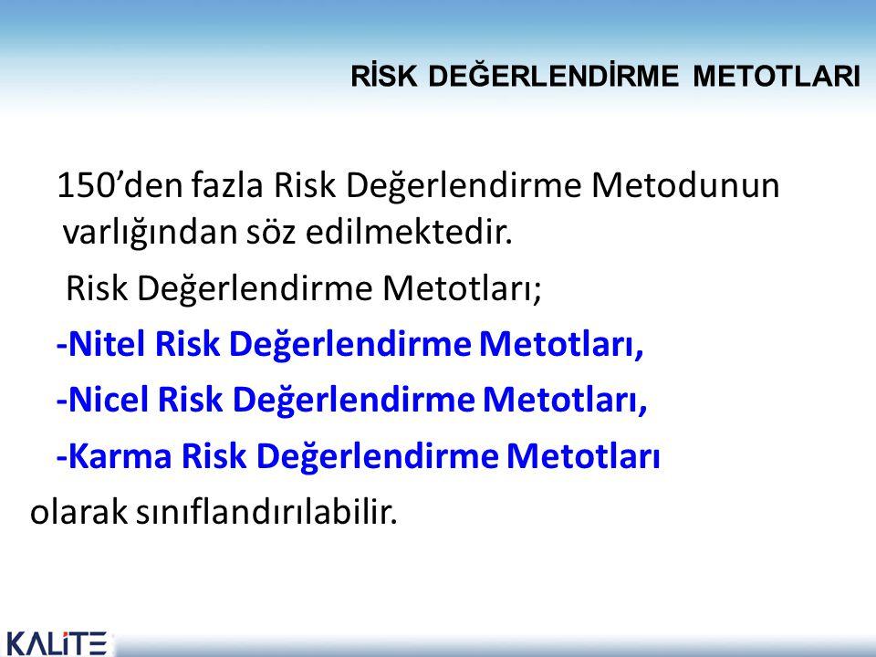 150'den fazla Risk Değerlendirme Metodunun varlığından söz edilmektedir. Risk Değerlendirme Metotları; -Nitel Risk Değerlendirme Metotları, -Nicel Ris